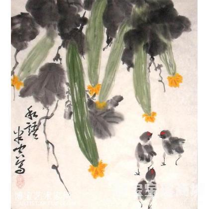名家 师玉峰 国画;书法; - 《师玉峰写意花鸟》写意丝瓜之二 私语图片